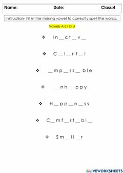 Ficha interactiva Spelling Words with Prefixes and Suffixes