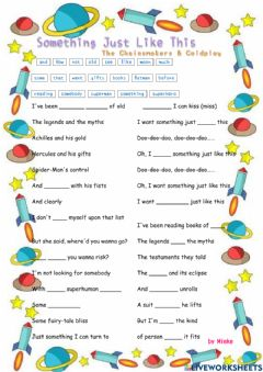 Interactive worksheet Something Just Like This (Cover)