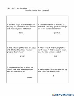 Interactive worksheet DIS  Year 5 – Rounding Division Word Problems 1