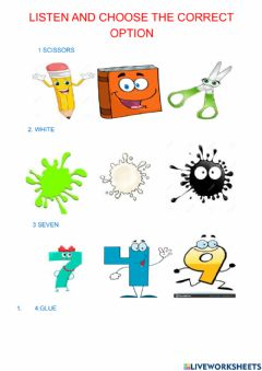 Interactive worksheet COLOURS, classroom objects, numbers