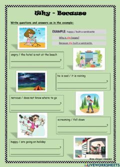 Interactive worksheet Why and because