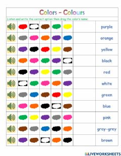 Interactive worksheet Colors-colours
