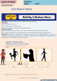 Ficha interactiva Let-s Reduce Stress - activity 3  A2 week 13