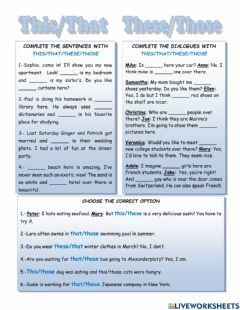 Interactive worksheet Demonstrative Pronouns - this that these those - worksheet 1