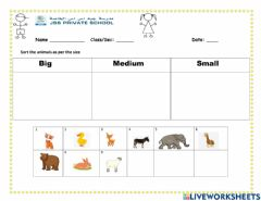 Interactive worksheet Sorting of animals as per size