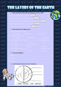 Interactive worksheet The Earth Layers