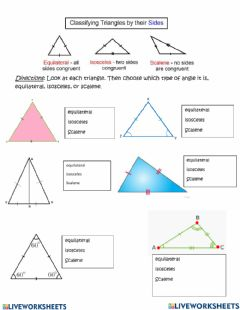 Interactive worksheet Types of Triangle