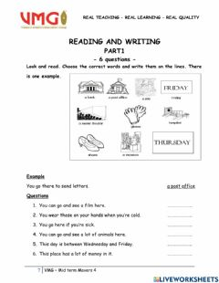Interactive worksheet Midterm Movers 4 - Reading&Writing