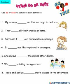 Interactive worksheet Using do or does