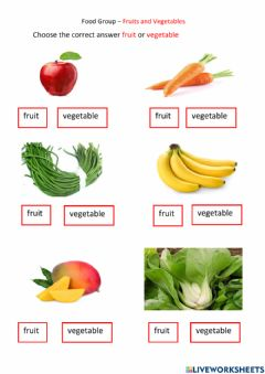 Interactive worksheet Food Groups- Fruits and Vegetables