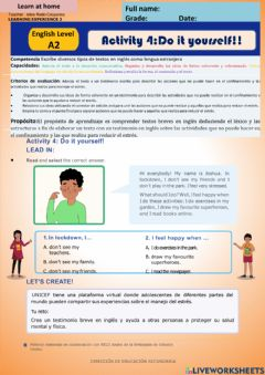 Interactive worksheet Let's Reduce stress- Do it yourself - A2 week 14