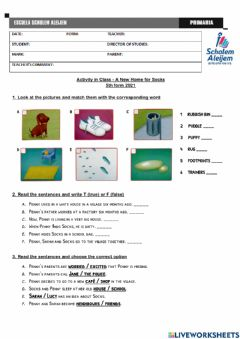 Interactive worksheet Activity - A New Home for Socks