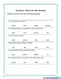 Interactive worksheet Words and their meanings 6