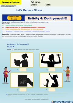 Interactive worksheet Let's Reduce stress- Do it yourself - Pre A1 week 14