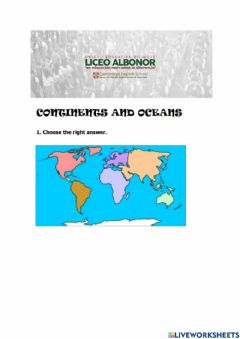 Ficha interactiva Continents and oceans