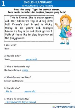Interactive worksheet My favourite toy- Reading comprehension, write sentences