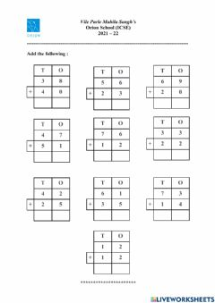 Ficha interactiva Addition of 2 digit numbers without regrouping