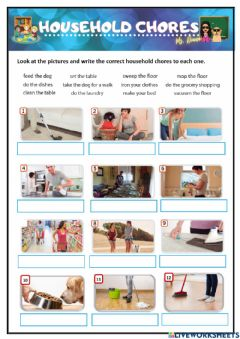 Ficha interactiva Household Chores - HAVE TO