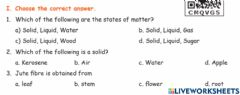 Interactive worksheet Matters and materials
