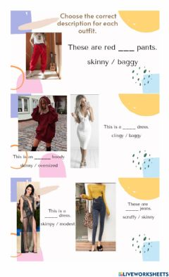 Interactive worksheet Adjectives to describe clothes