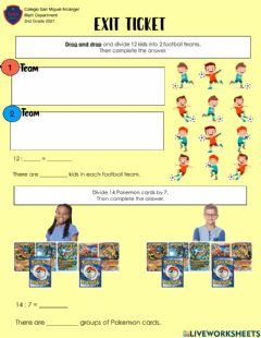 Interactive worksheet Exit ticket Divisions 2