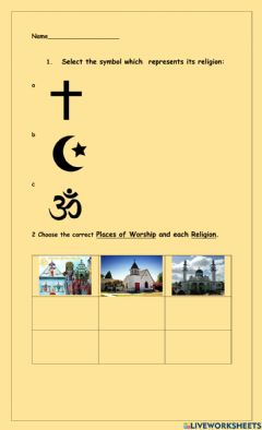 Interactive worksheet Religious Symbols and Places of Worship Revision