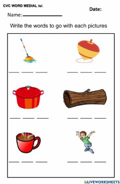 Interactive worksheet Cvc word with medial o