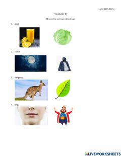 Interactive worksheet Vocabulary about j-k-l-m