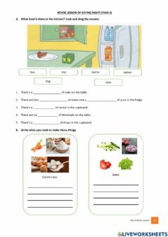 Ficha interactiva Revise lesson Year 4 Eating Right