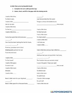 Interactive worksheet Song:A Little Time