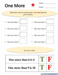 Interactive worksheet Math-One more