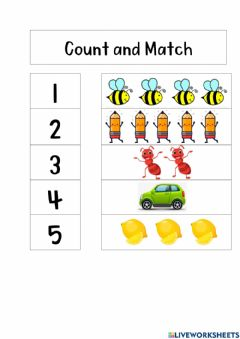 Ficha interactiva Count and Match 1 - 5