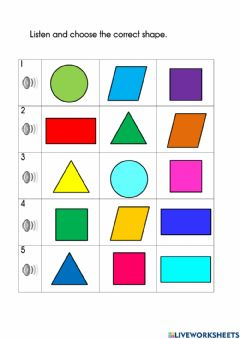 Interactive worksheet Listen and choose the correct shape