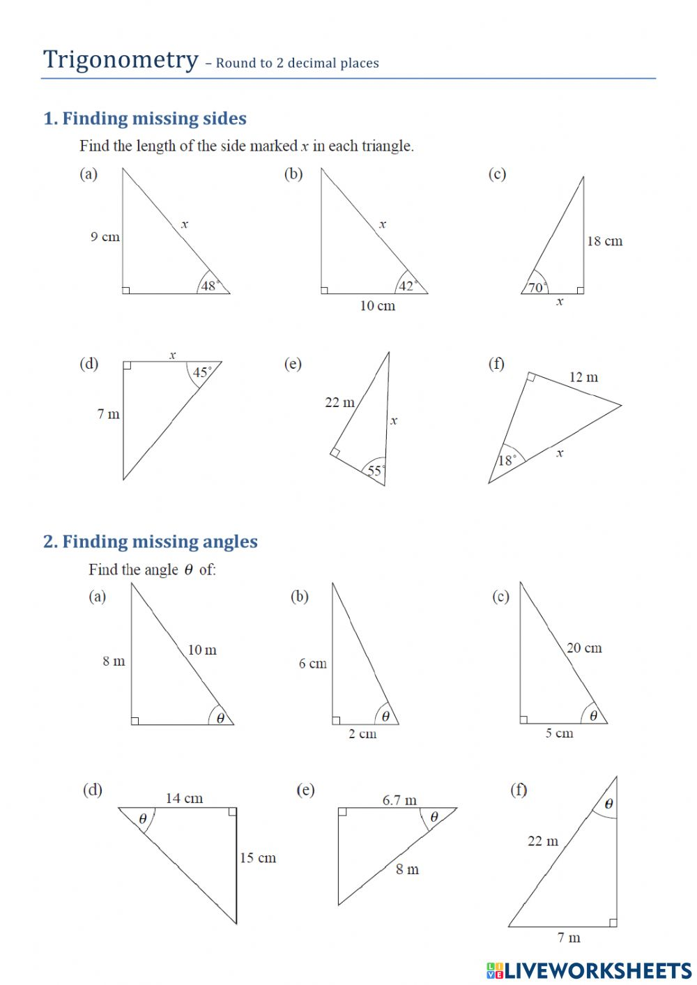 Trigonometry - Finding Sides and Angles worksheet With Regard To Right Triangle Trig Worksheet
