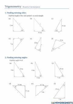 Ficha interactiva Trigonometry - Finding Sides and Angles