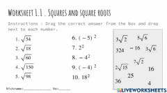 Ficha interactiva Squares and square root