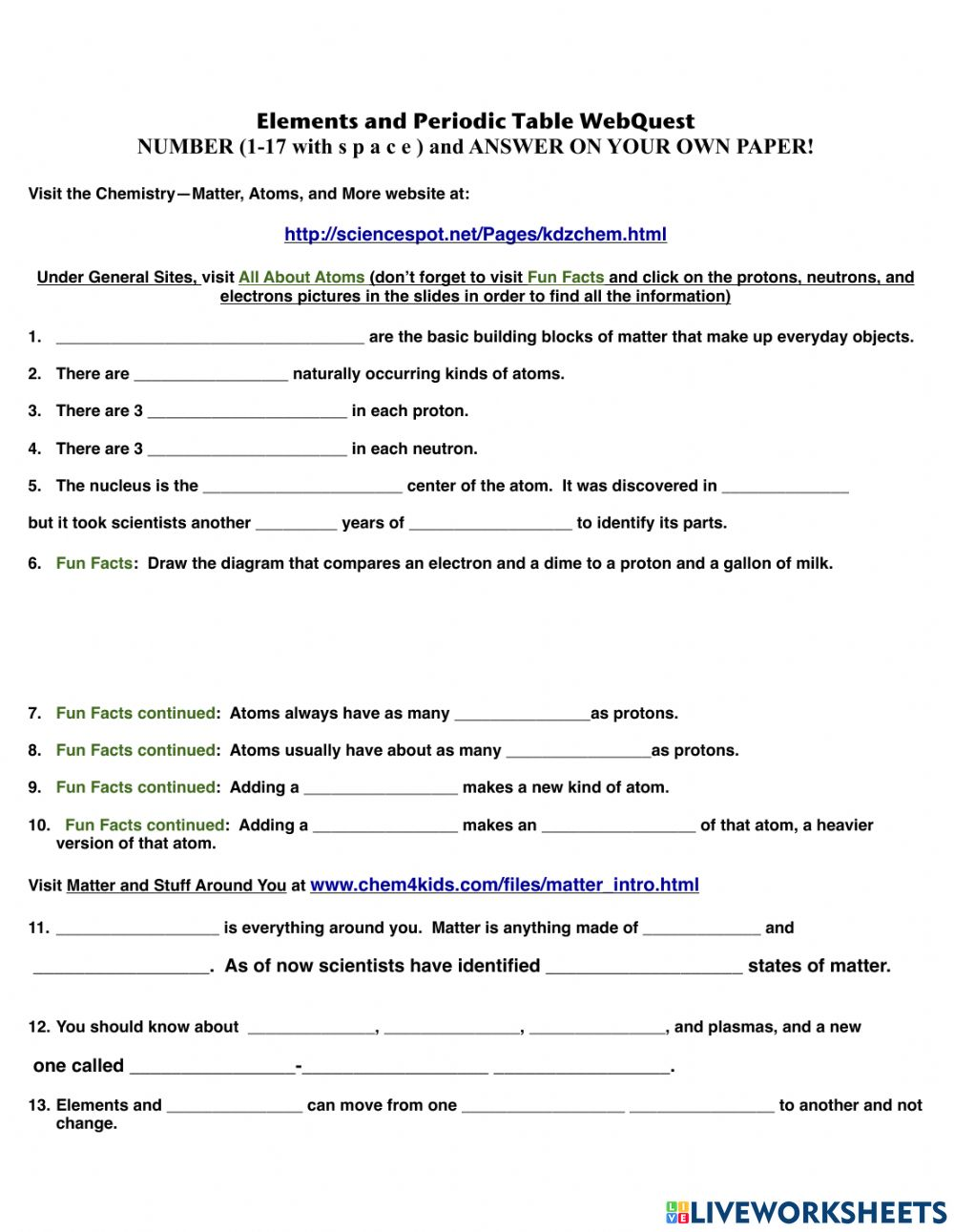 Elements and Periodic Table WebQuest worksheet With Periodic Table Webquest Worksheet Answers