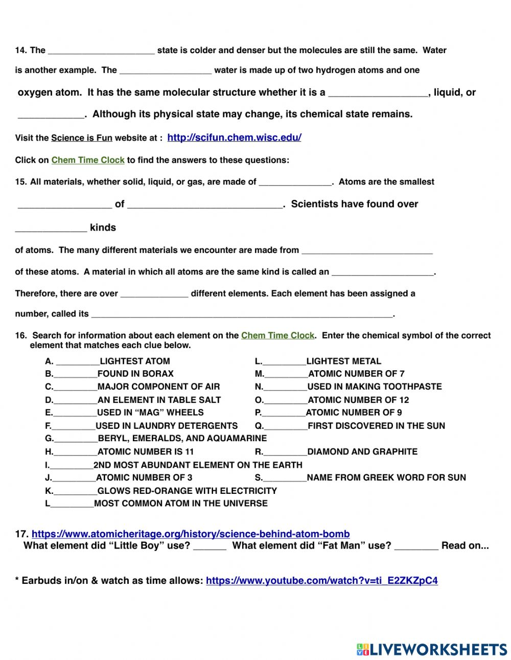 Elements and Periodic Table WebQuest worksheet In Periodic Table Webquest Worksheet Answers