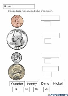 Interactive worksheet Coin names and values