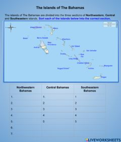 Ficha interactiva Map of the Bahamas -3 Sections