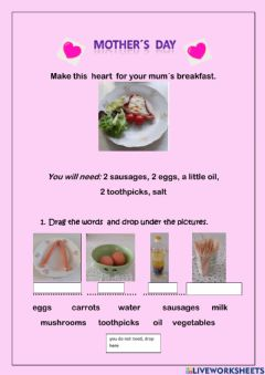 Ficha interactiva Receipe Hearts for Mother-s day