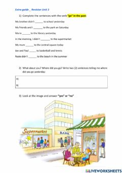 Interactive worksheet Revision places in the town and -went-
