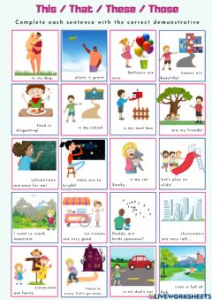 Interactive worksheet Demonstratives - This, that, these, those