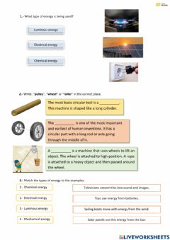 Interactive worksheet Unit 6. Introduction to simple machines