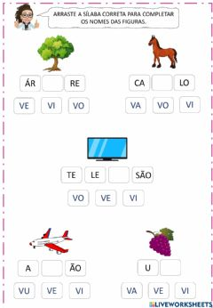 Interactive worksheet Complete os nomes das figuras