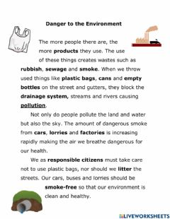 Ficha interactiva Pollution - Danger to the Environment