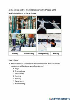 Ficha interactiva At the leisure centre (Pulse 2 pg90) - Step 1 Read