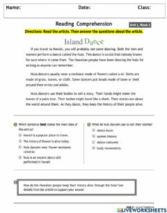 Interactive worksheet Main Idea and Details Comprehension