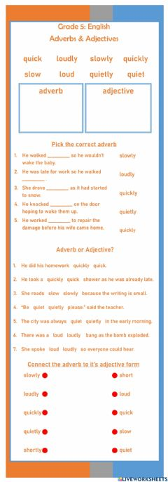 Interactive worksheet Simple Adverb - Adjective Exercise
