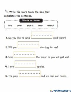 Interactive worksheet Words to know
